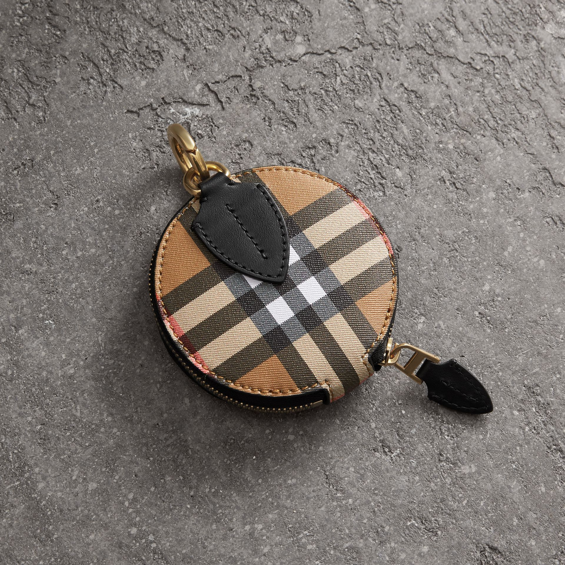 Vintage Check and Leather Coin Case in Black - Women | Burberry - gallery image 4
