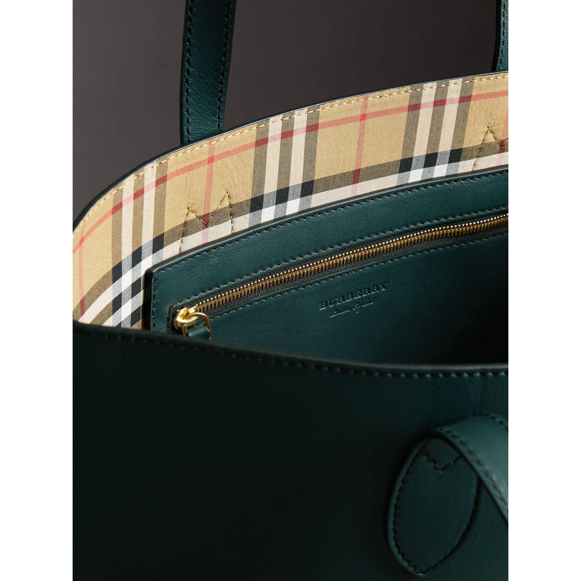 Graffiti Print Bonded Leather Tote in Deep Bottle Green | Burberry - gallery image 5