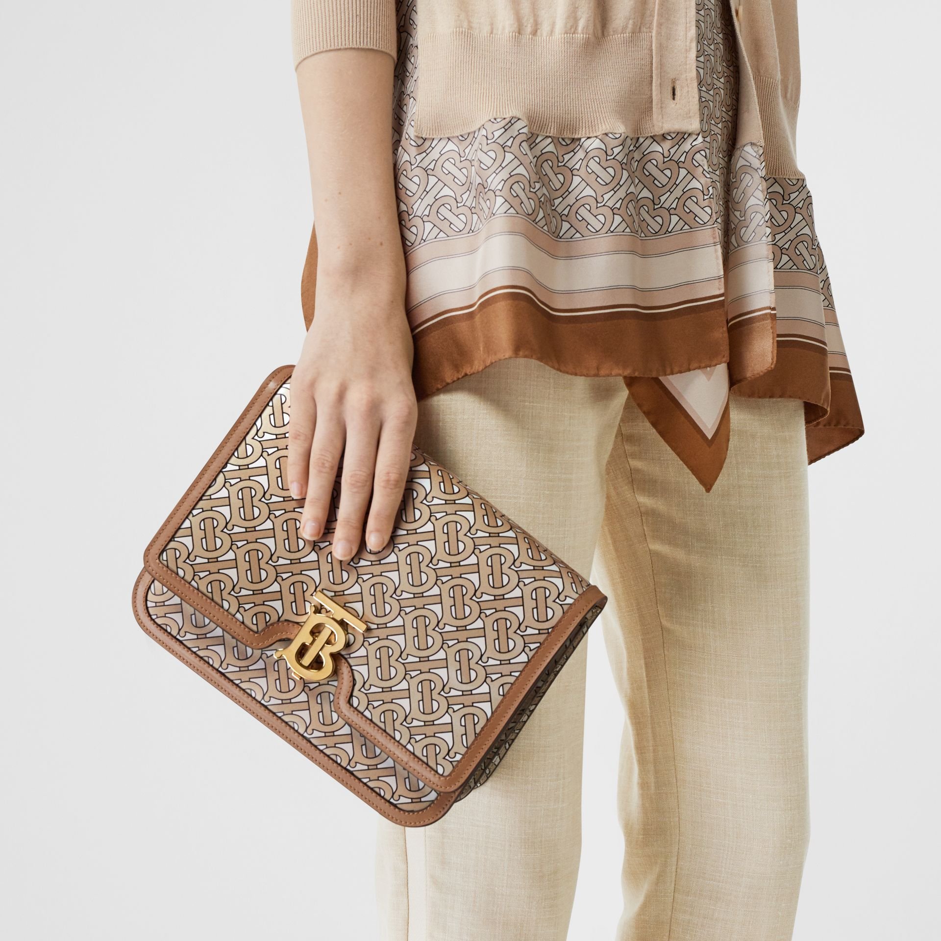 Medium Monogram Print Leather TB Bag in Beige - Women | Burberry Australia - gallery image 5