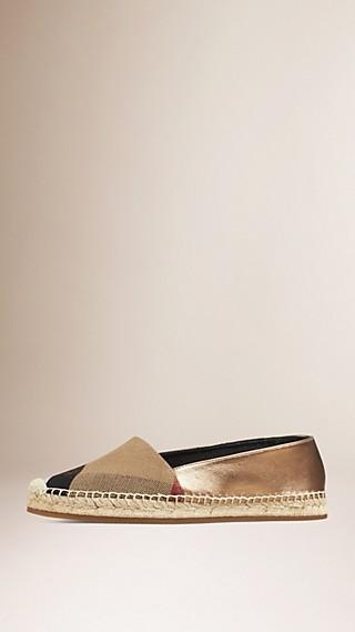 Espadrilles en jute de coton et cuir avec motif check