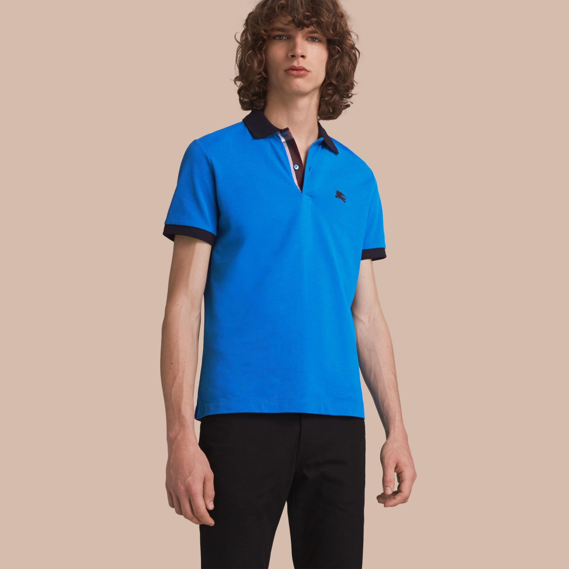 Two-tone Check Placket Cotton Piqué Polo Shirt Bright Opal - gallery image 1