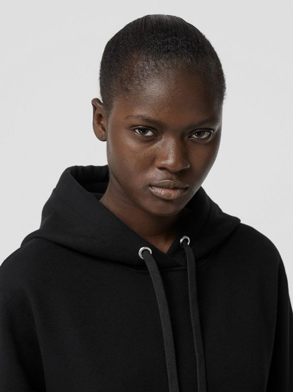 Ring-pierced Cotton Oversized Hoodie in Black - Women | Burberry United Kingdom - cell image 1