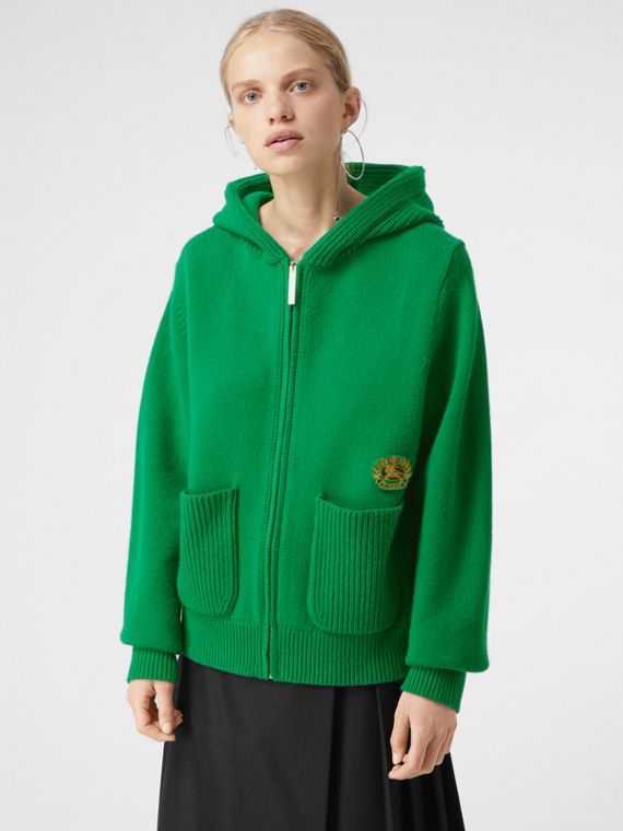 Embroidered Archive Logo Cashmere Hooded Top in Vibrant Green