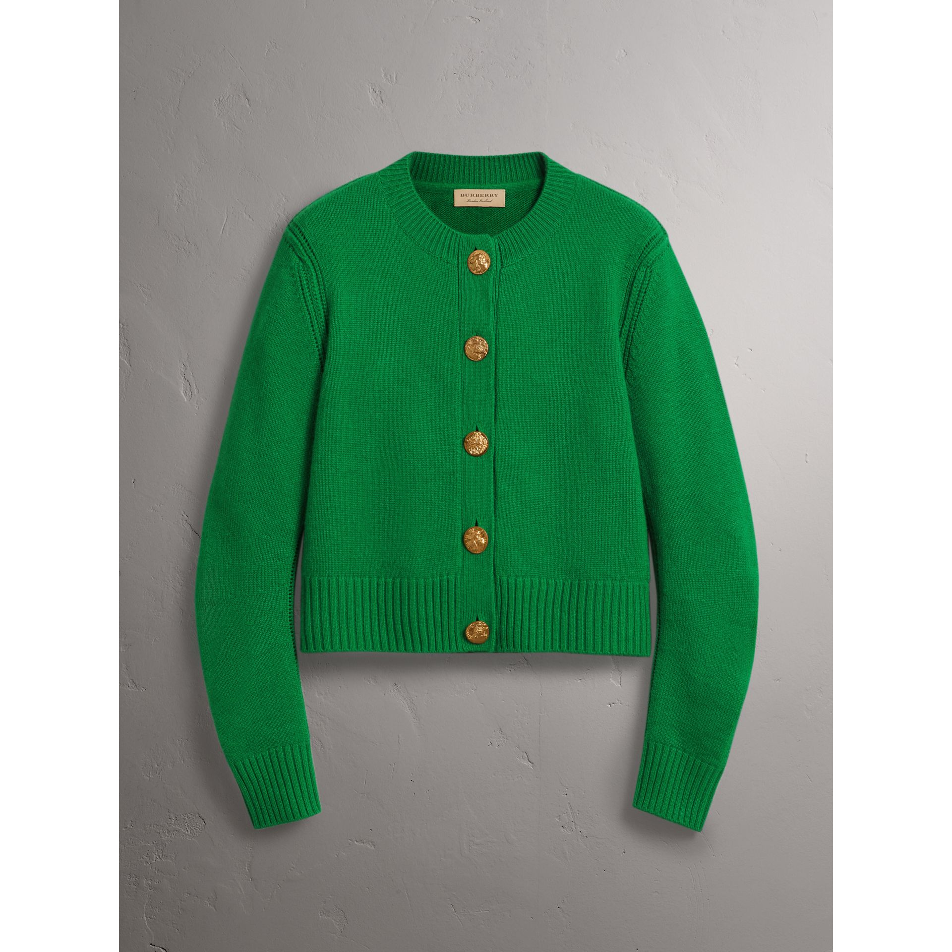 Cardigan in cashmere con bottoni decorati (Verde Minerale) - Donna | Burberry - immagine della galleria 3