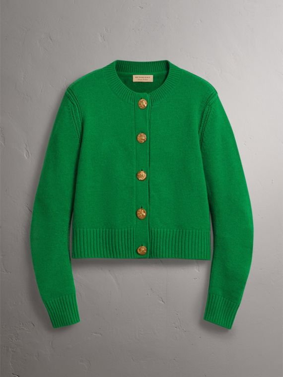 Bird Button Cashmere Cardigan in Mineral Green - Women | Burberry - cell image 3