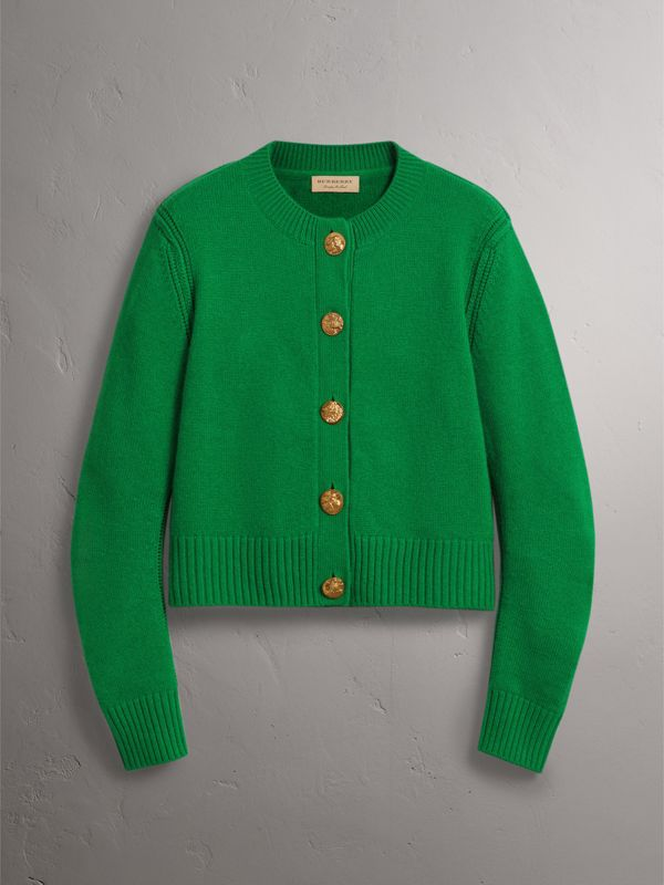 Bird Button Cashmere Cardigan in Mineral Green - Women | Burberry United Kingdom - cell image 3
