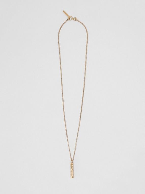 Collana con ciondolo a forma di I in metallo placcato oro (Chiaro)