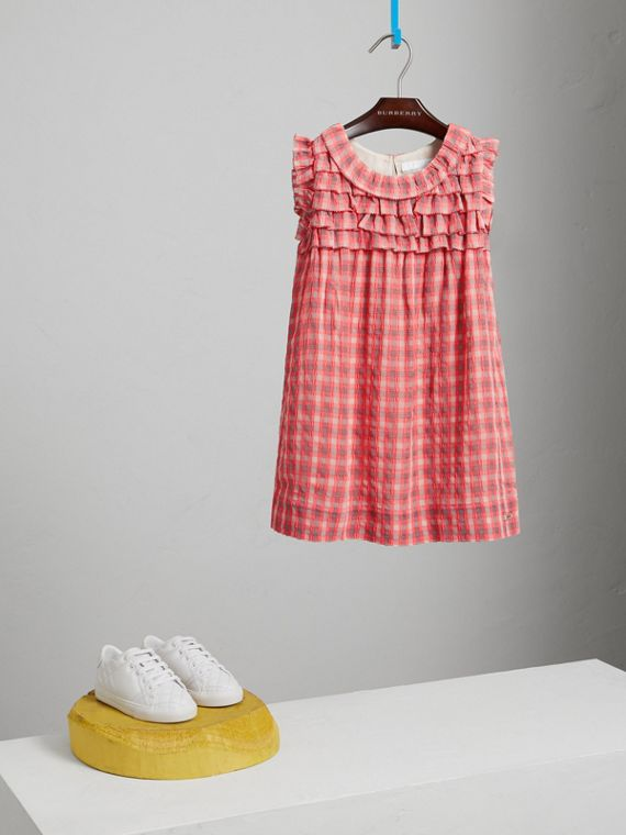 Sleeveless Check Seersucker Dress in Bright Coral Pink