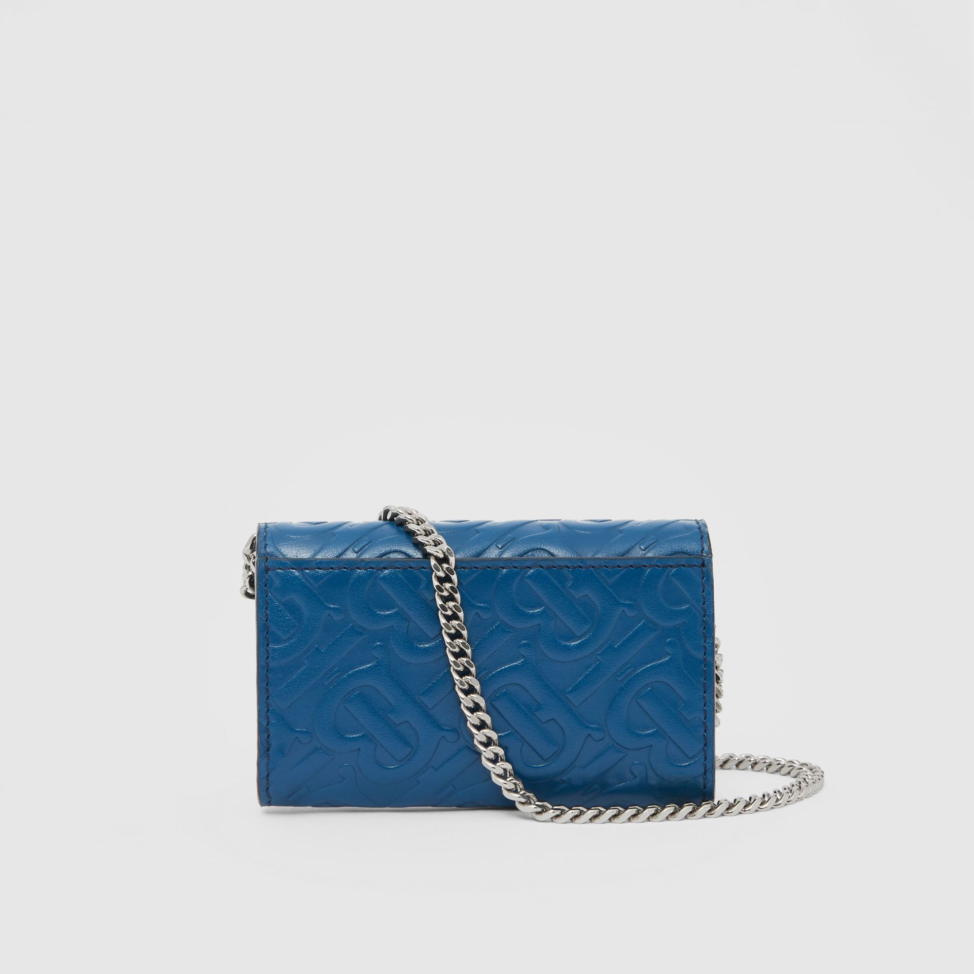 Small Monogram Leather Wallet with Detachable Strap in Pale Canvas Blue   Burberry Hong Kong S.A.R - gallery image 9