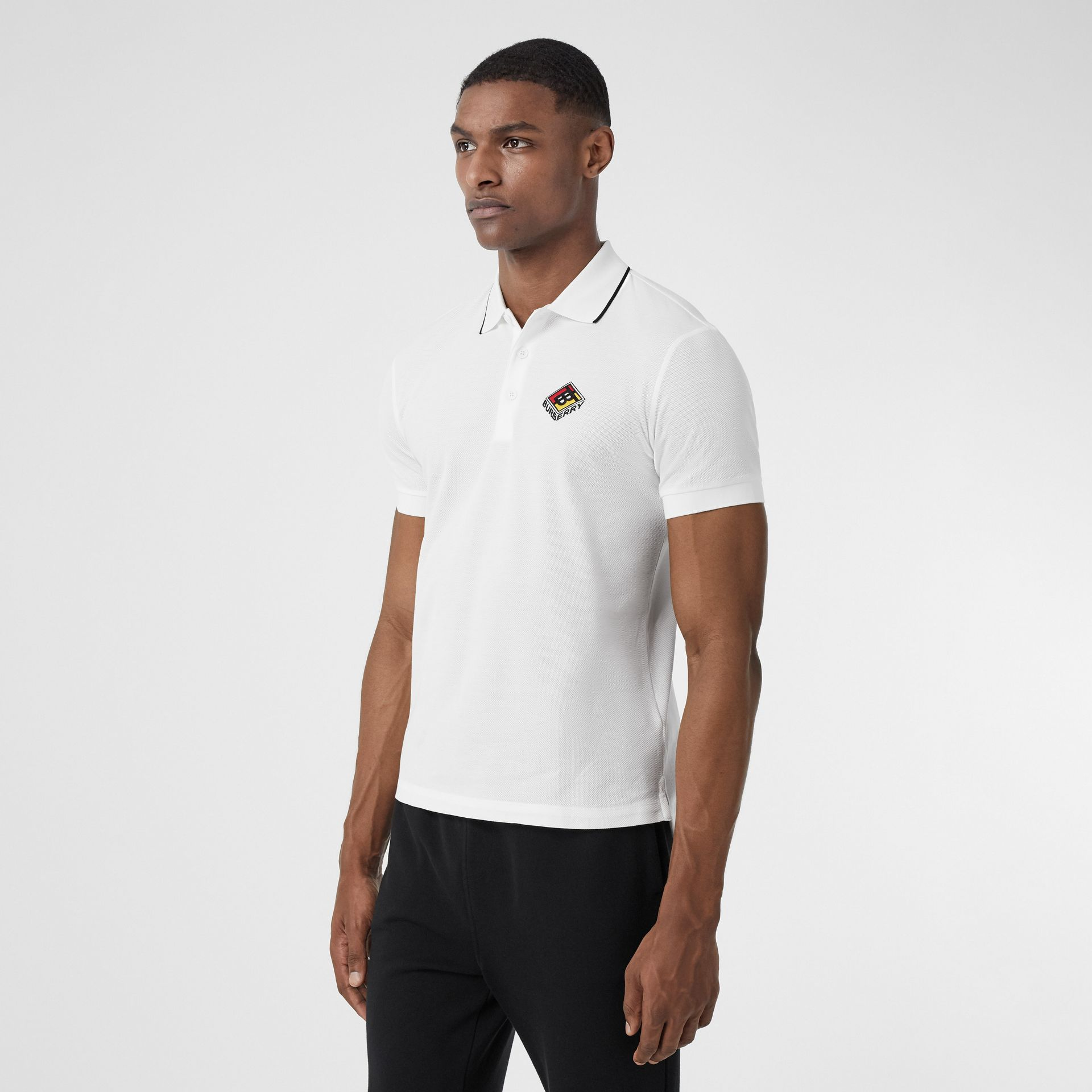 Logo Graphic Cotton Piqué Polo Shirt in White - Men | Burberry - gallery image 4