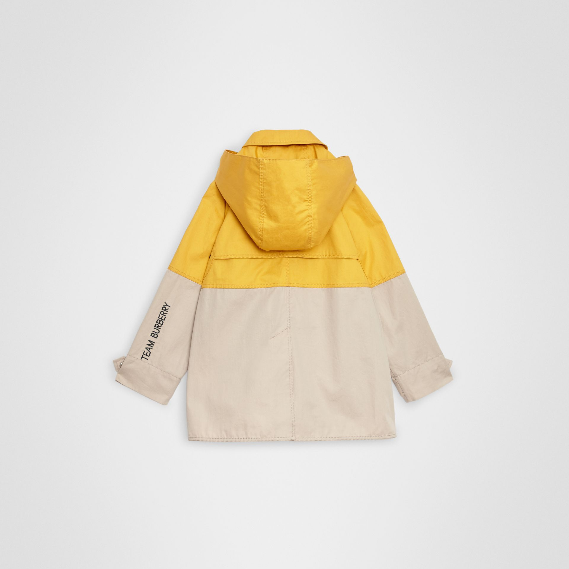 Detachable Hood Colour Block Cotton Car Coat in Gorse Yellow | Burberry - gallery image 3