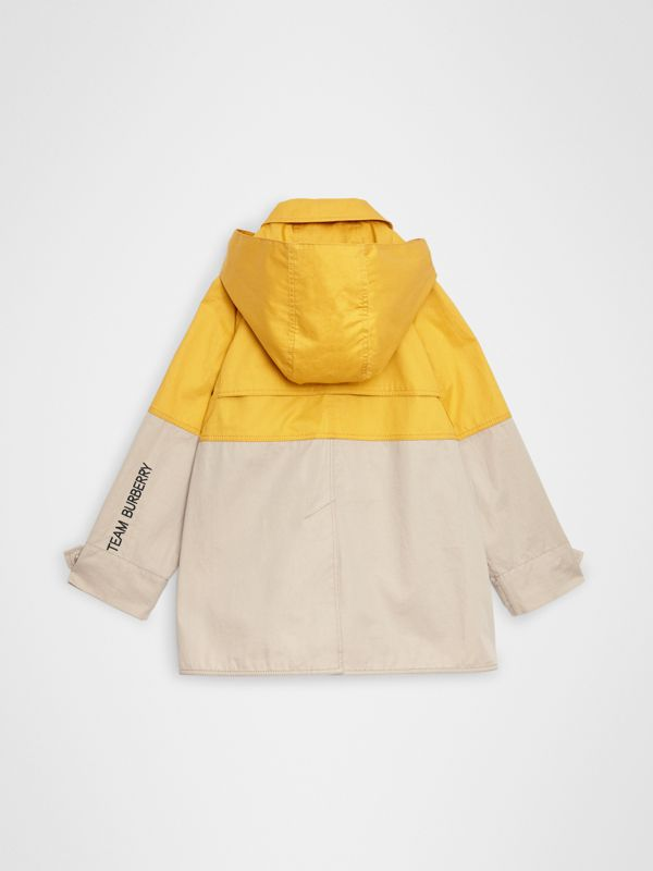 Detachable Hood Colour Block Cotton Car Coat in Gorse Yellow - Boy | Burberry - cell image 3