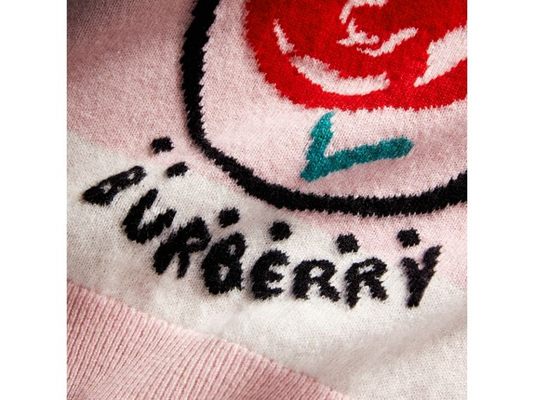 London Icons Intarsia Cashmere Sweater in Natural White | Burberry - cell image 1