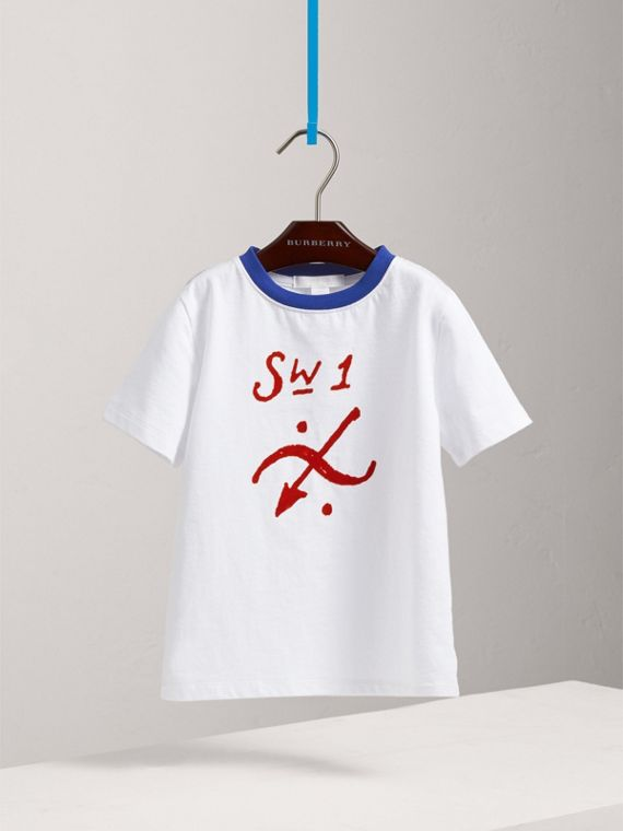 SW1 Print Cotton T-shirt in White - Boy | Burberry - cell image 2