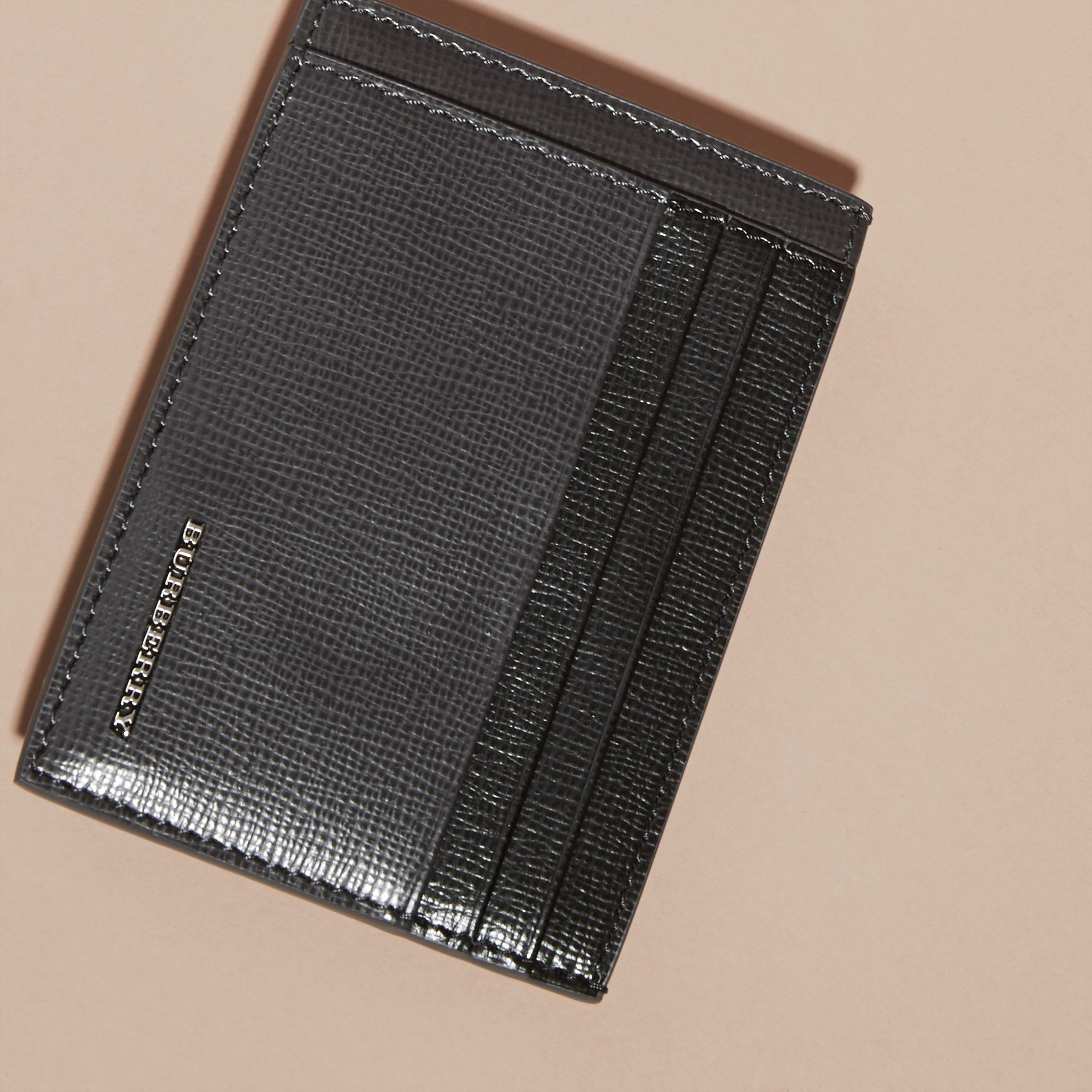 Charcoal/black Colour Block London Leather Card Case Charcoal/black - gallery image 3