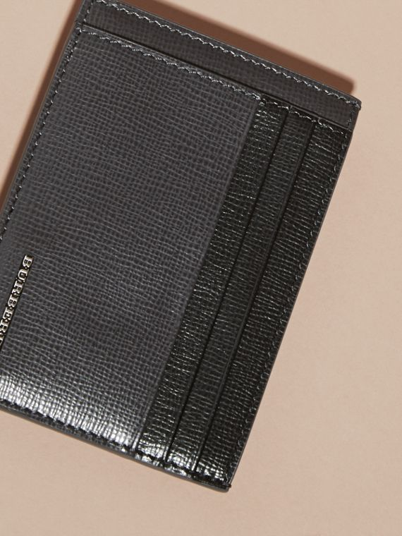 Charcoal/black Colour Block London Leather Card Case Charcoal/black - cell image 2