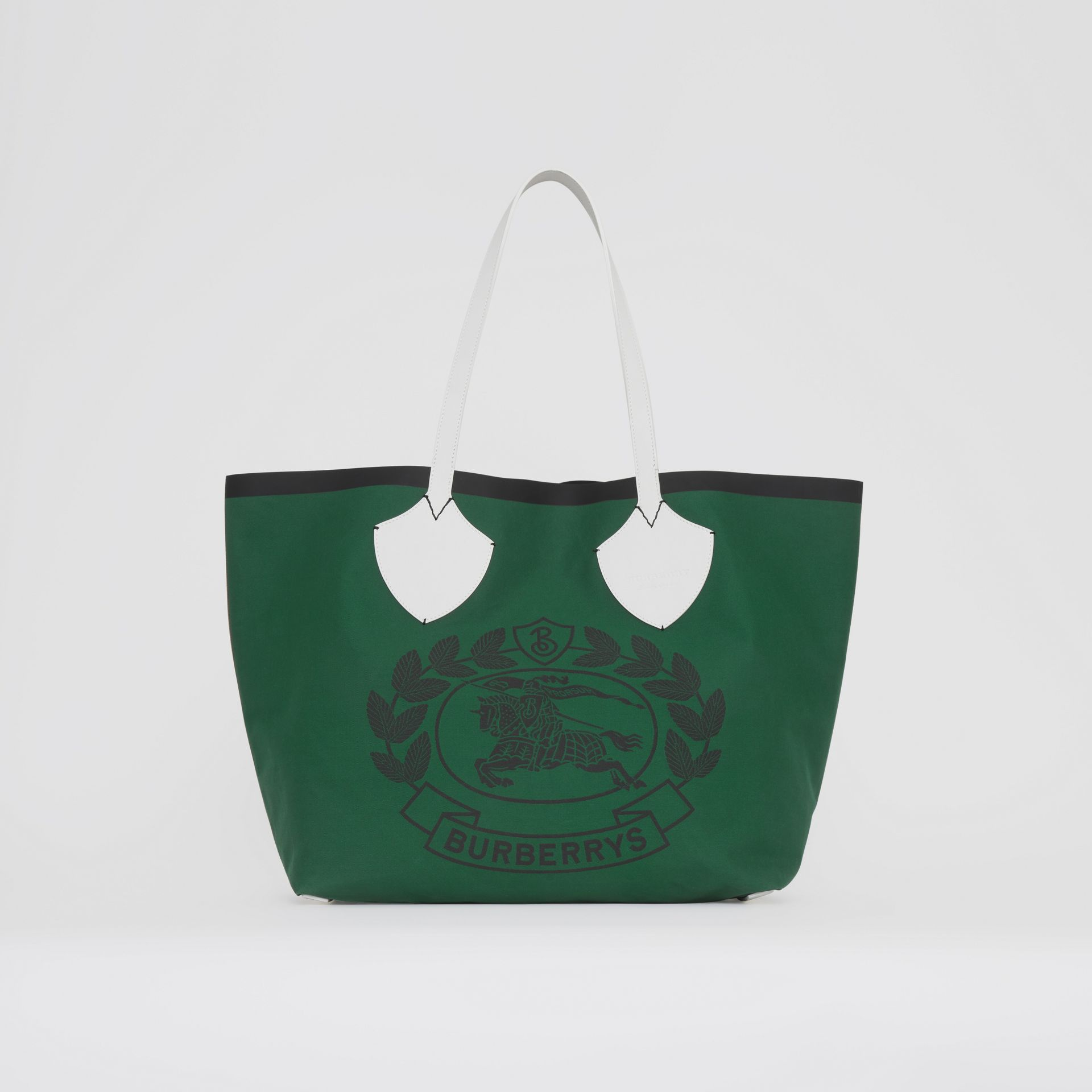 The Giant Tote in Archive Crest Cotton in Dark Racing Green | Burberry - gallery image 0