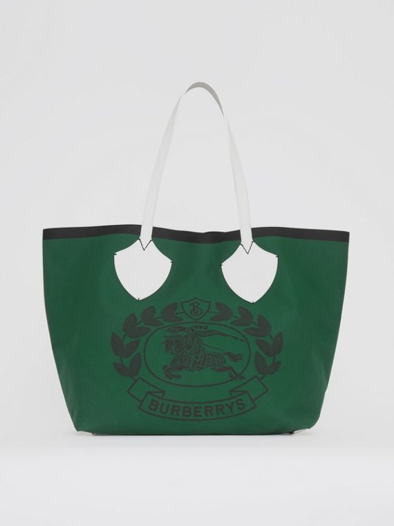 The Giant Tote in Archive Crest Cotton in Dark Racing Green