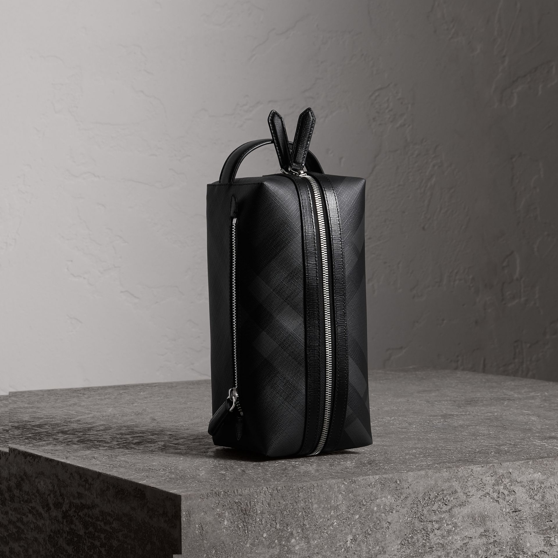 London Check and Leather Pouch in Charcoal/black | Burberry Canada - gallery image 0