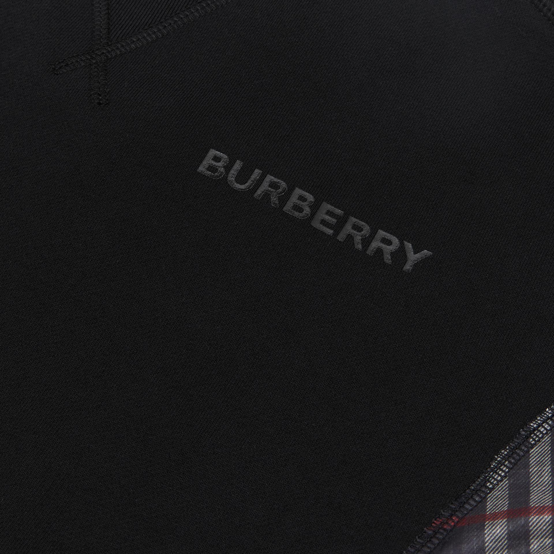 Vintage Check Panel Cotton Sweatshirt in Black | Burberry Australia - gallery image 1