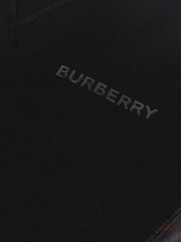 Vintage Check Panel Cotton Sweatshirt in Black | Burberry - cell image 1