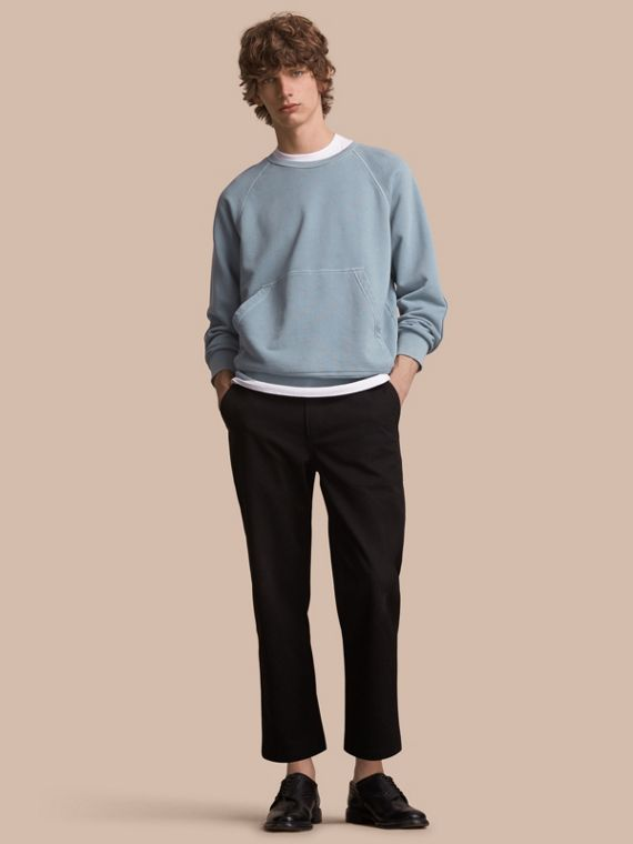 Unisex Pigment-dyed Cotton Oversize Sweatshirt in Dusty Blue - Women | Burberry Singapore - cell image 2