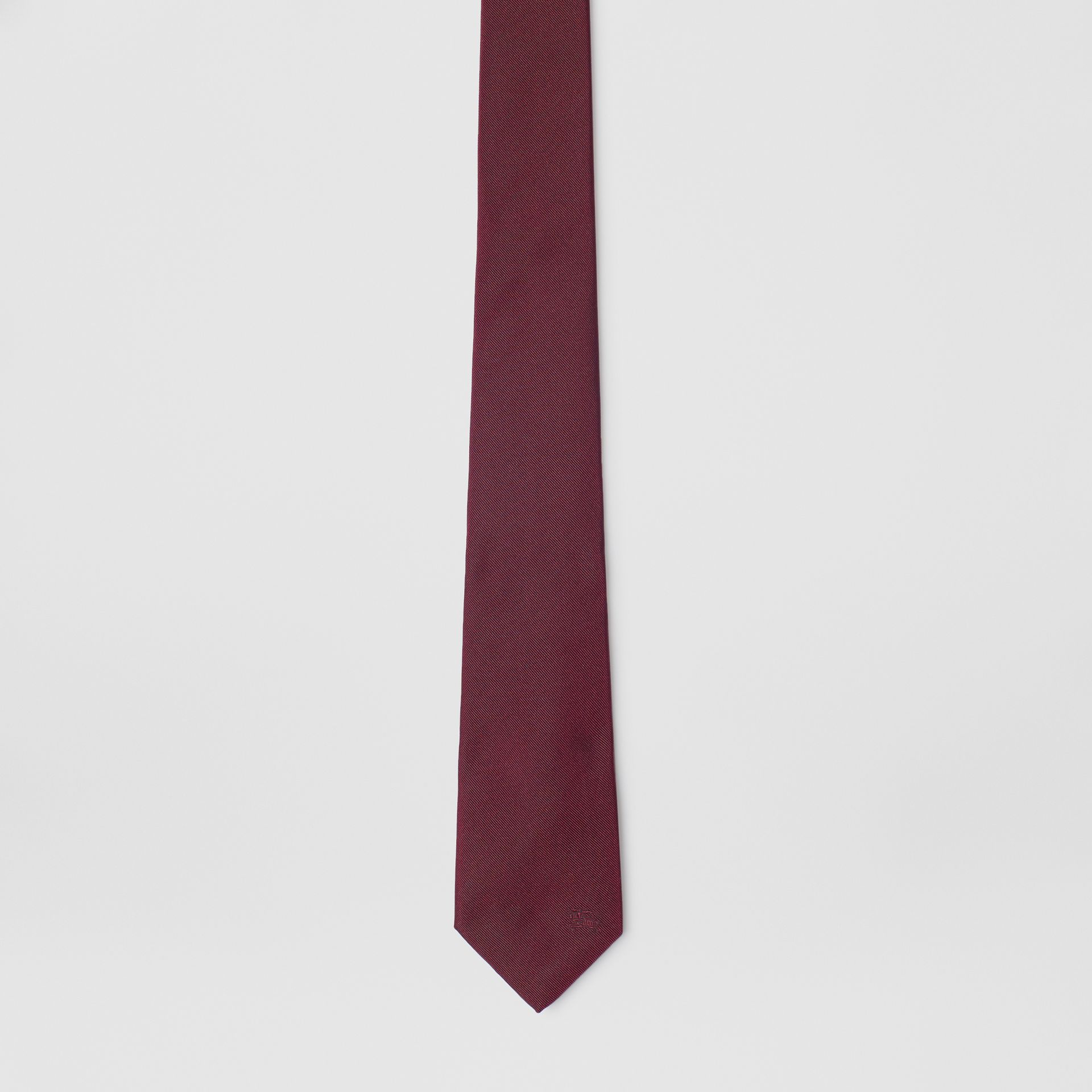 Slim Cut Check Silk Twill Tie in Mahogany Red - Men | Burberry - gallery image 4