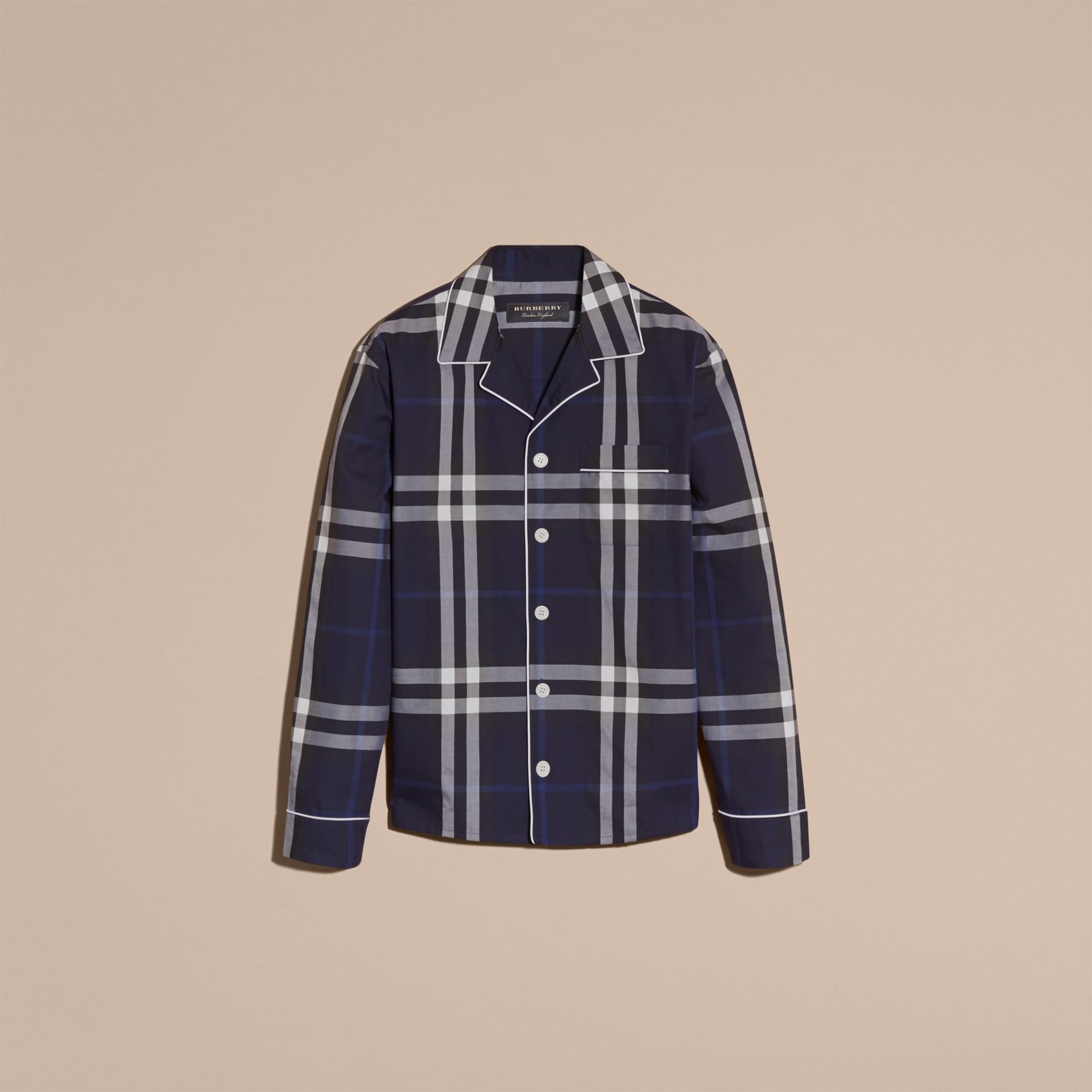 Indigo blue Check Cotton Pyjama-style Shirt Indigo Blue - gallery image 4