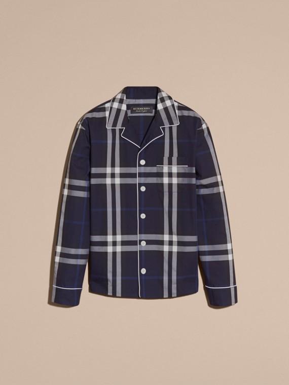 Indigo blue Check Cotton Pyjama-style Shirt Indigo Blue - cell image 3