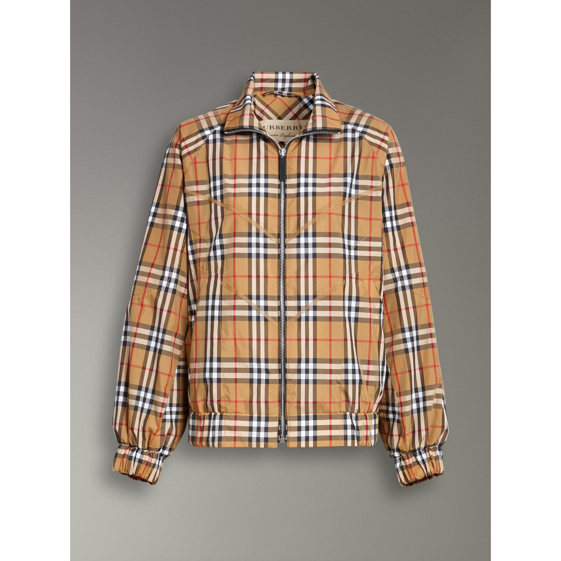 Topstitch Detail Vintage Check Harrington Jacket in Antique Yellow - Women | Burberry Australia - gallery image 3