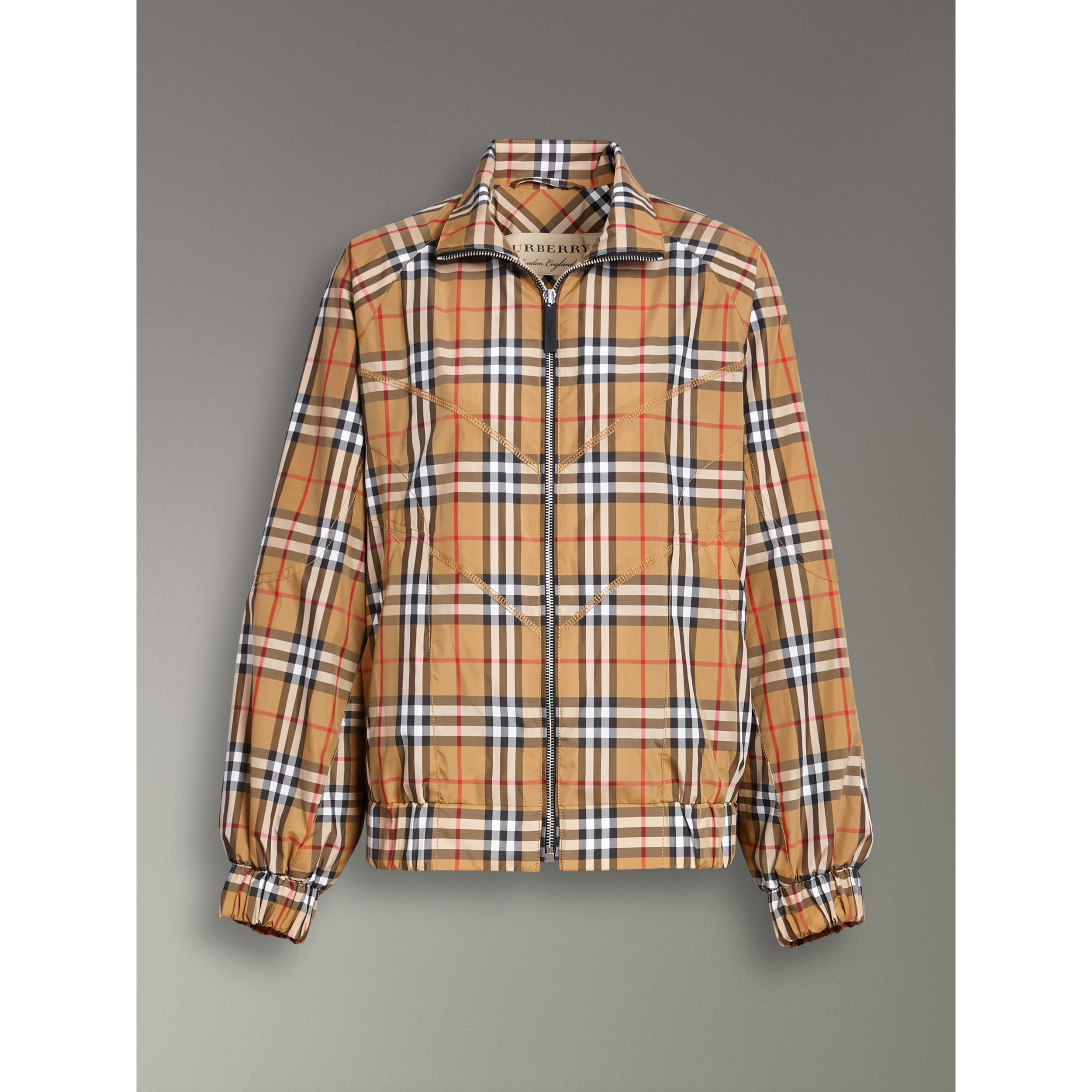 Topstitch Detail Vintage Check Harrington Jacket in Antique Yellow - Women | Burberry - 4
