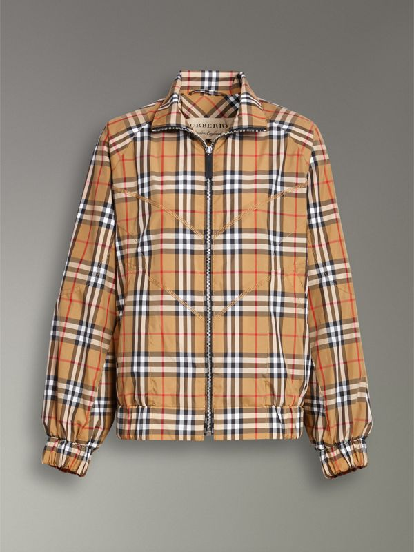 Topstitch Detail Vintage Check Harrington Jacket in Antique Yellow - Women | Burberry Australia - cell image 3