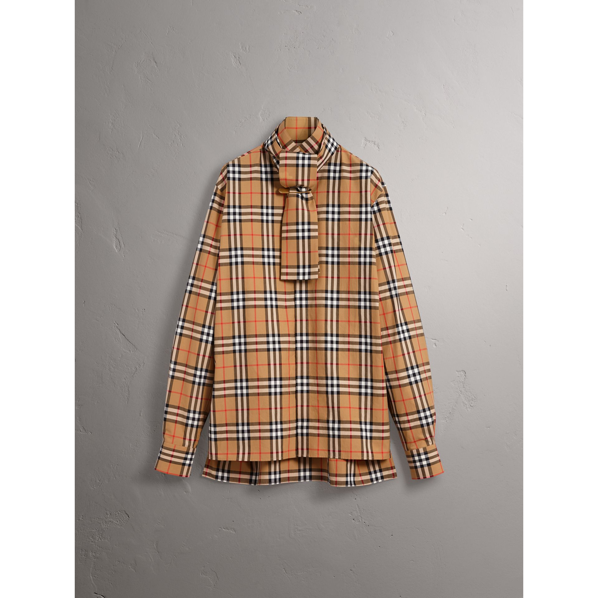 Vintage Check Cotton Tie-neck Riding Shirt in Antique Yellow - Men | Burberry - gallery image 3