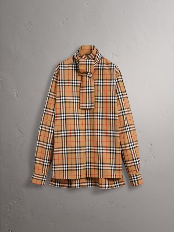 Vintage Check Cotton Tie-neck Riding Shirt in Antique Yellow - Men | Burberry Hong Kong - cell image 3