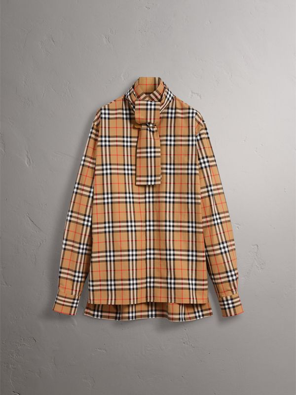 Vintage Check Cotton Tie-neck Riding Shirt in Antique Yellow - Men | Burberry - cell image 3