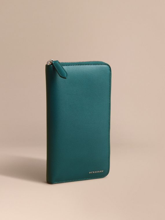 London Leather Ziparound Wallet in Dark Teal | Burberry