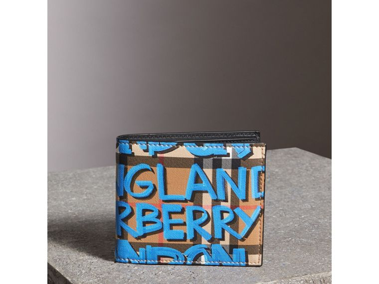 Graffiti Print Vintage Check International Bifold Wallet in Canvas Blue/antique Yellow - Men | Burberry Singapore - cell image 4
