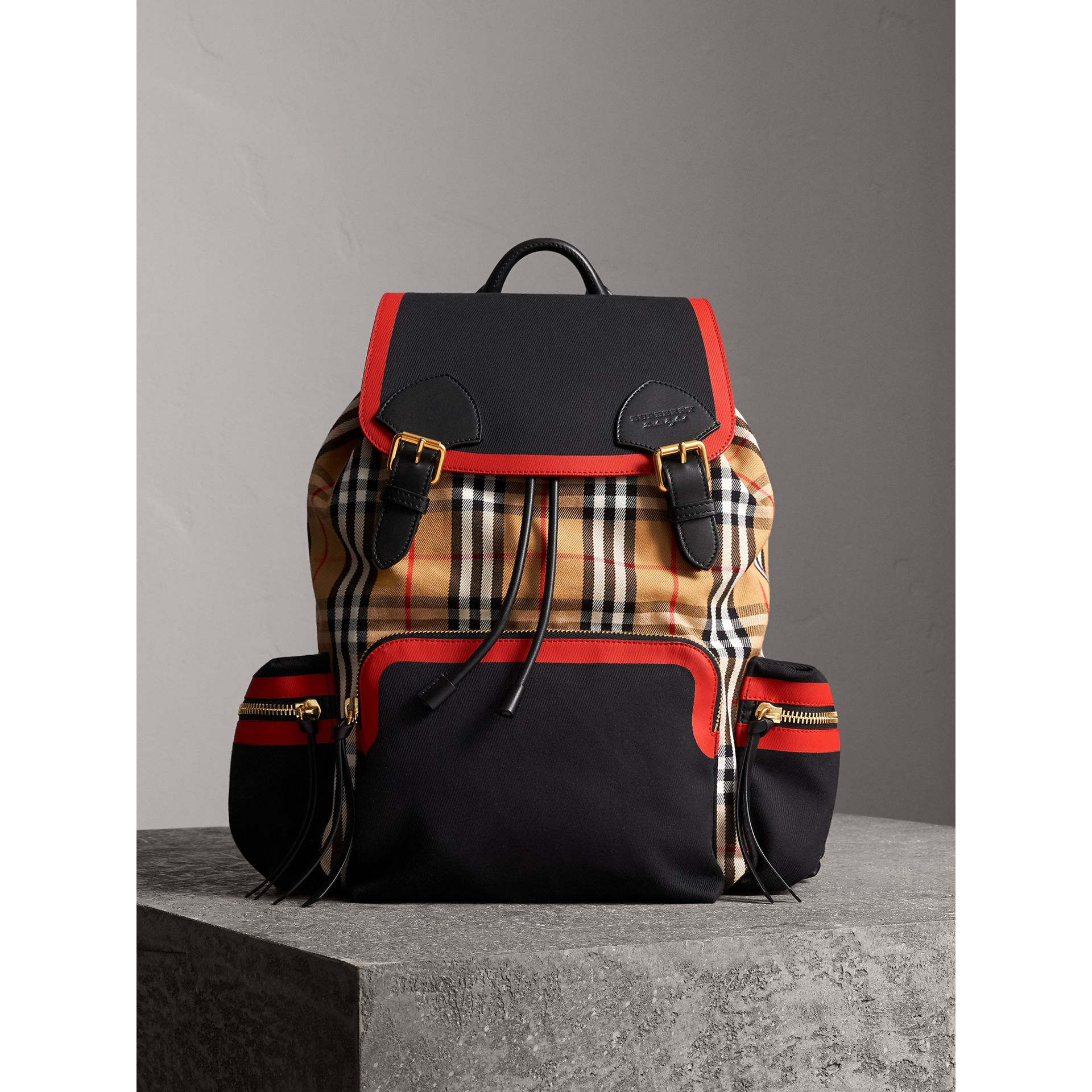The Large Rucksack in Vintage Check and Leather in Antique Yellow | Burberry - gallery image 5