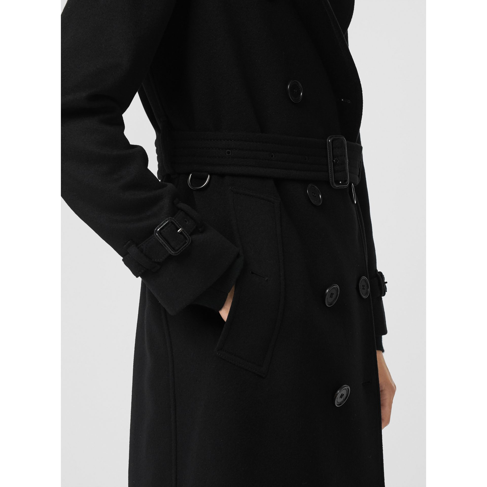Cashmere Trench Coat in Black - Women | Burberry - gallery image 3