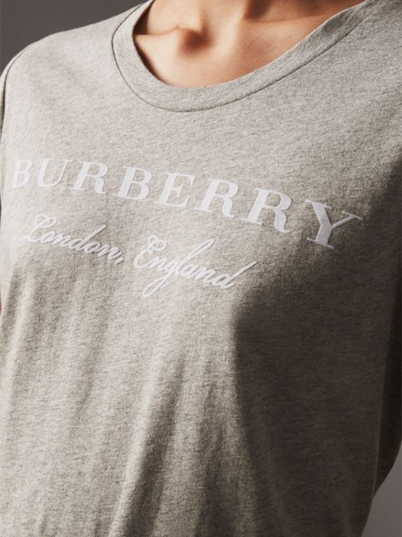 Printed Cotton T-shirt in Pale Grey Melange - Women | Burberry - cell image 3