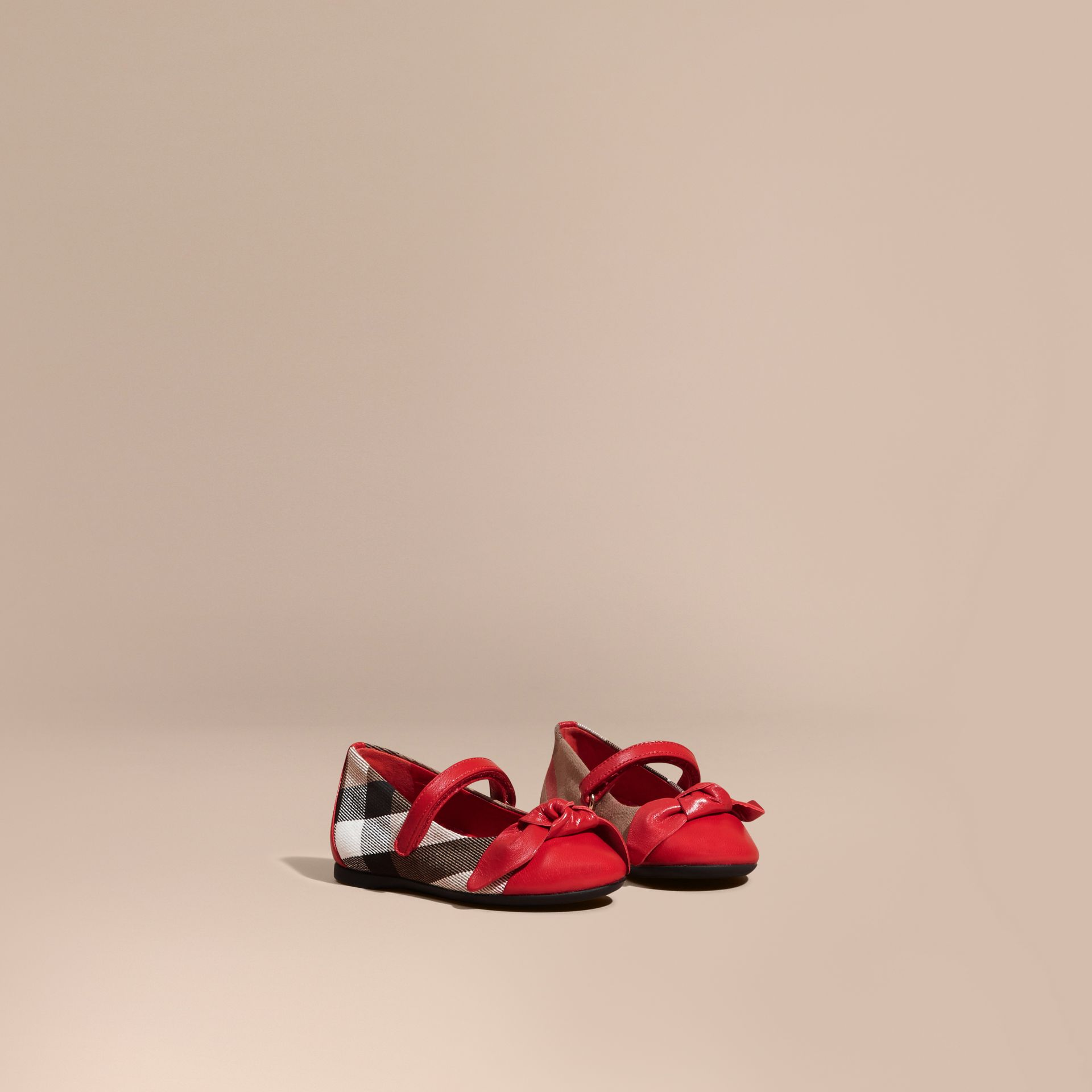 Leather and House Check Ballerinas in Parade Red | Burberry - gallery image 1