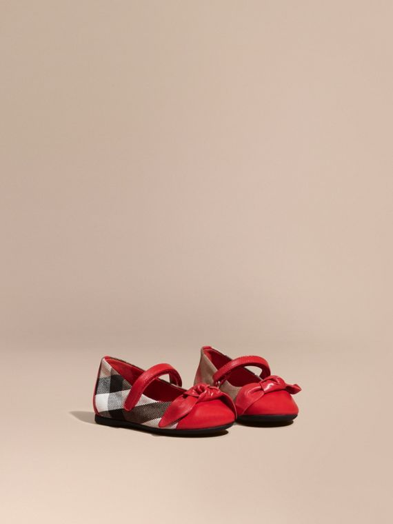 Leather and House Check Ballerinas in Parade Red | Burberry