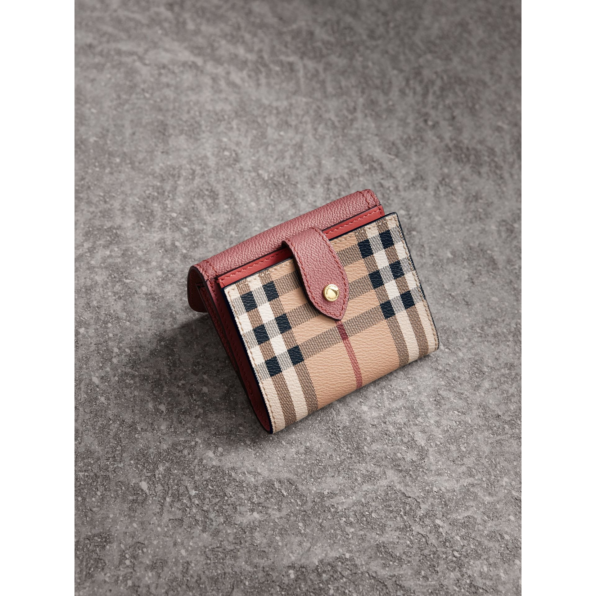 Haymarket Check and Leather Wallet in Dusty Pink/multicolour - Women | Burberry - gallery image 2