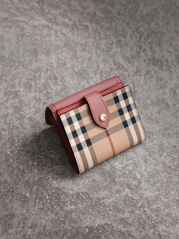 Haymarket Check and Leather Wallet in Dusty Pink/multicolour - Women | Burberry - cell image 2