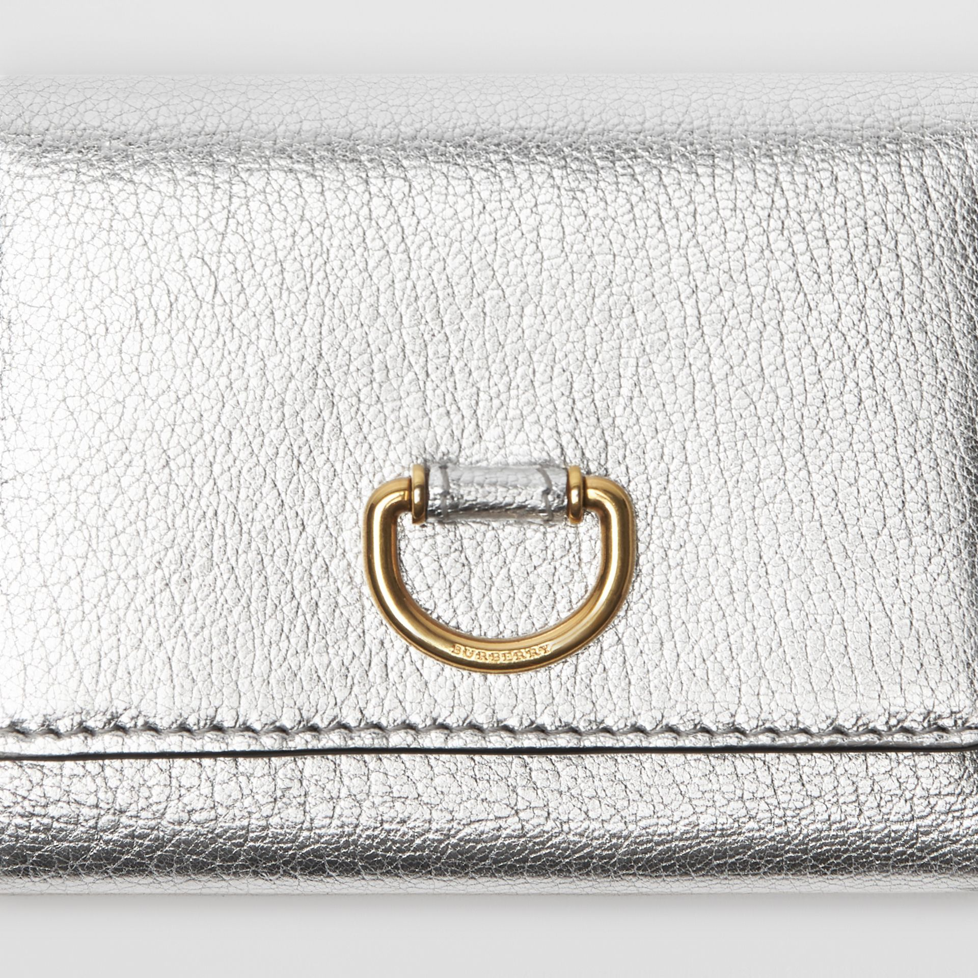 Small D-ring Metallic Leather Wallet in Silver - Women | Burberry - gallery image 1