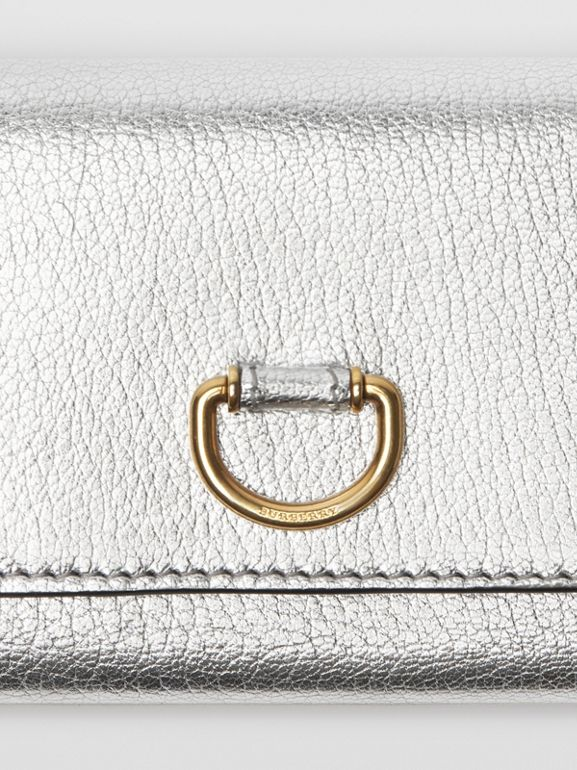 Small D-ring Metallic Leather Wallet in Silver - Women | Burberry - cell image 1