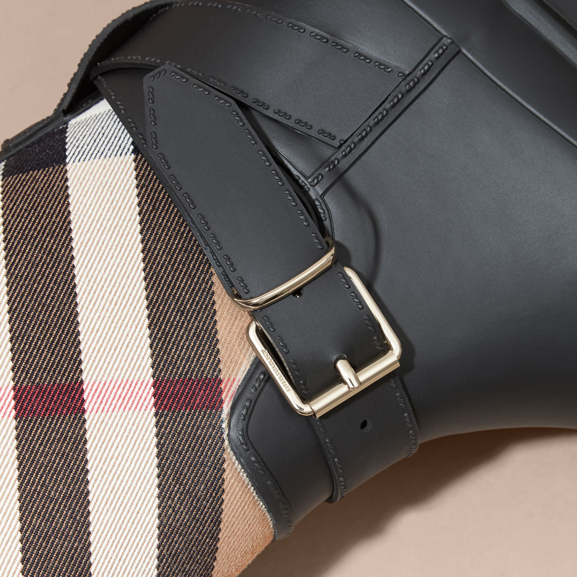 Belt Detail Check and Rubber Rain Boots - Women | Burberry - gallery image 2