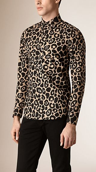 Abstract Animal Print Cotton Shirt
