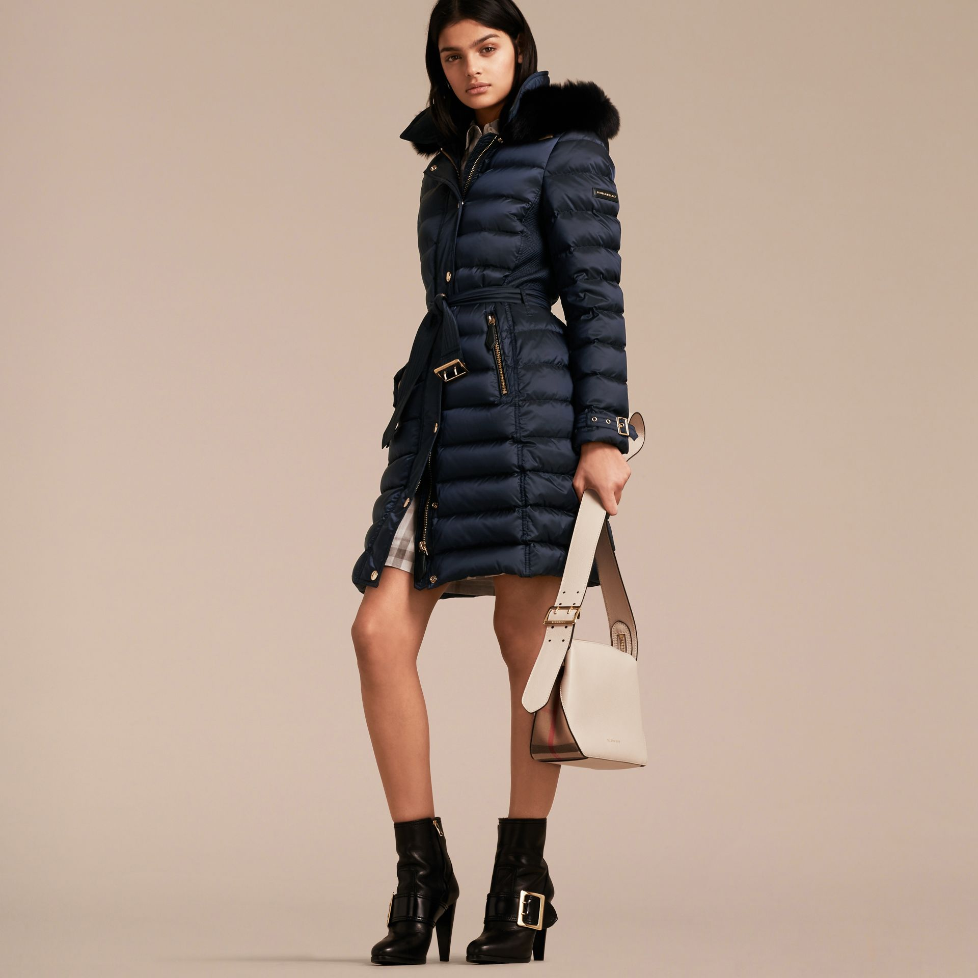 Down-filled Coat with Fox Fur Trim Hood in Navy - Women | Burberry - gallery image 1