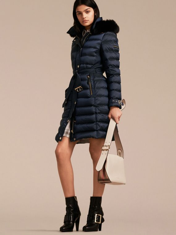 Down-filled Coat with Fox Fur Trim Hood in Navy - Women | Burberry